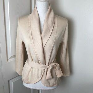 Bcbgmaxazria Wrap wool sweater Top Cream Small